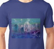 Blue and White Doodle Fish Unisex T-Shirt