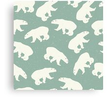 Polar bears on light green background with snow Canvas Print