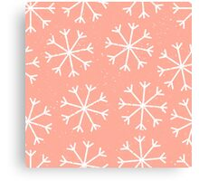 Big snowflakes in a pale salmon pink sky Canvas Print