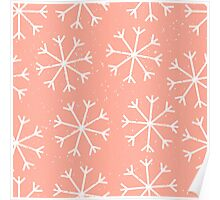 Big snowflakes in a pale salmon pink sky Poster