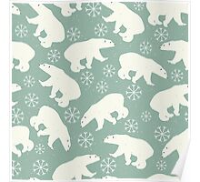 Polar bears and snowflakes on pale green background Poster