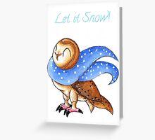 Cozy Christmas Barn Owl Greeting Card