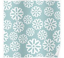 Snowflakes on light blue background Poster