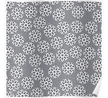 Snowflakes on light grey Poster