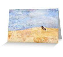 Surreal row boat marooned in the desert Greeting Card