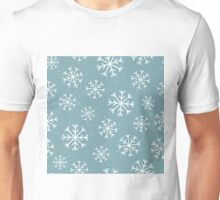 Pretty snowflake design and dark grey blue background - Christmas winter collection Unisex T-Shirt