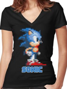 Sonic the Hedgehog 16 bit Women's Fitted V-Neck T-Shirt