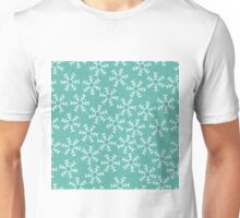 Snowflakes in a green winter sky Unisex T-Shirt