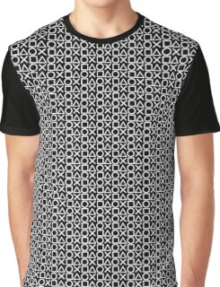 Playstation Buttons - White on Black Graphic T-Shirt