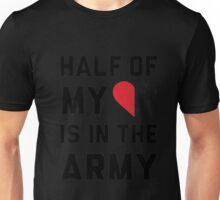 Cotton Half My Heart Is In The Army Crewneck T-Shirt (White, XXL) Unisex T-Shirt