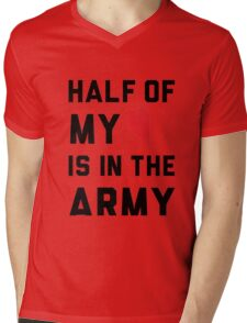 Cotton Half My Heart Is In The Army Crewneck T-Shirt (White, XXL) Mens V-Neck T-Shirt