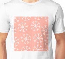 Big snowflakes in a pale salmon pink sky Unisex T-Shirt