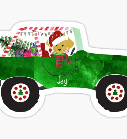 Preppy Dog Christmas Jeep Retriever Puppy Sticker