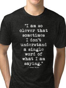 Oscar Wilde Cleverness White Tri-blend T-Shirt