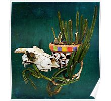 Skull and Mexican mosaic cactus pot plant  Poster