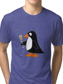Funky Cute Penguin with Champagne Tri-blend T-Shirt