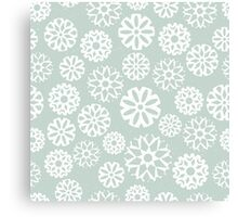 Pretty snowflakes on a pale green background Canvas Print