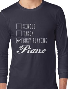 Single Taken busy playing Piano Chiffon Tops Long Sleeve T-Shirt