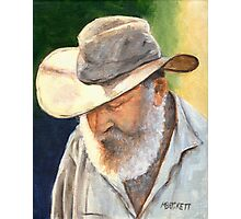 Old Man in Cowboy Hat Photographic Print