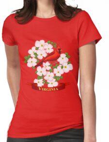 Virginia State Cardinal Bird and Dogwood Flower Womens Fitted T-Shirt