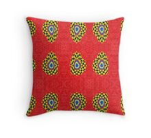 Strange red colorful pattern Throw Pillow