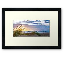 Sunset at the Dutch coast Framed Print