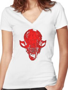 Bloody Fox Skull Women's Fitted V-Neck T-Shirt