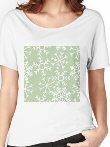 Cool snowflakes design on a pale green pastel background Women's Relaxed Fit T-Shirt