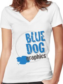 blue dog graphics Women's Fitted V-Neck T-Shirt