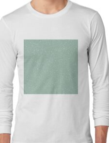 Snowstorm blizzard on a pastel green background Long Sleeve T-Shirt