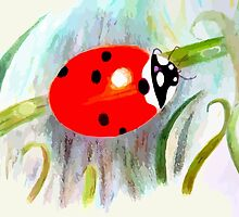 Ladybug watercolour painting by rayemond