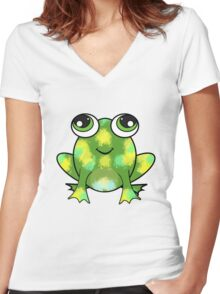 Cute frog and fresh paint Women's Fitted V-Neck T-Shirt