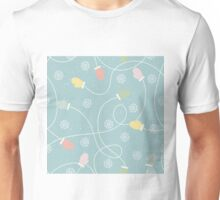 Fun snowflakes and colourful gloves, mittens tied with string design on a green background Unisex T-Shirt