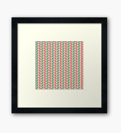 Fun green and red weave stripes for Christmas decor Framed Print