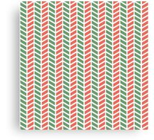 Fun green and red weave stripes for Christmas decor Canvas Print
