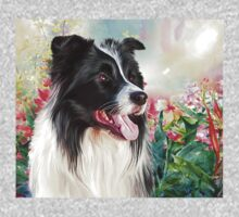 Border Collie Painting  One Piece - Short Sleeve
