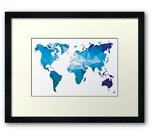 World map in geometric triangle pattern design Framed Print