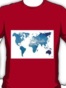 World map in geometric triangle pattern design T-Shirt