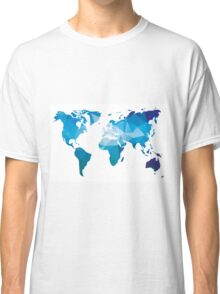 World map in geometric triangle pattern design Classic T-Shirt