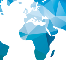 World map in geometric triangle pattern design Sticker