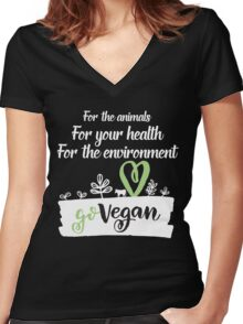 Go Vegan For Your Health Women's Fitted V-Neck T-Shirt