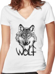 Wolf 6 Women's Fitted V-Neck T-Shirt