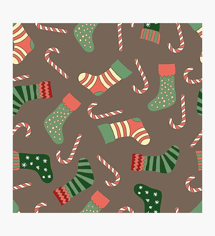 Christmas stockings and candy canes fun design  Photographic Print