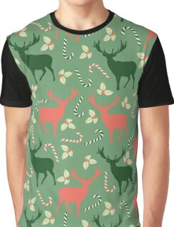 Deer and candy canes fun Christmas design  Graphic T-Shirt