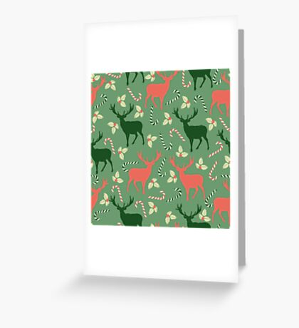 Deer and candy canes fun Christmas design  Greeting Card