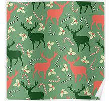 Deer and candy canes fun Christmas design  Poster