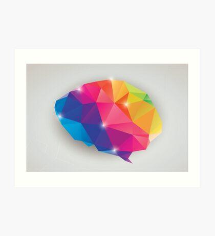 Abstract geometric human brain, triangles, creativity Art Print