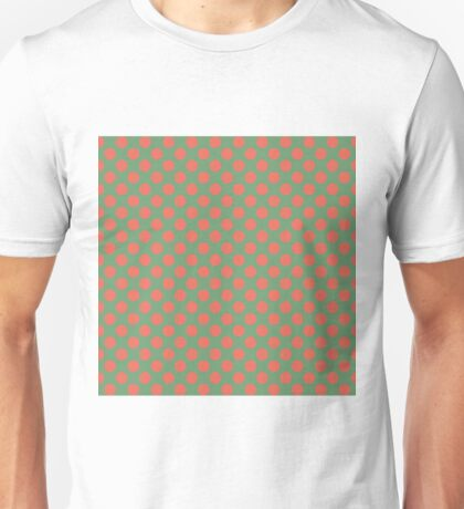 Fun Christmas red dots on green background pattern  Unisex T-Shirt