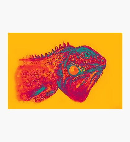 Colorful iguana watercolor painting Photographic Print