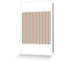 Red, green and white herring bone pattern in Christmas colours Greeting Card